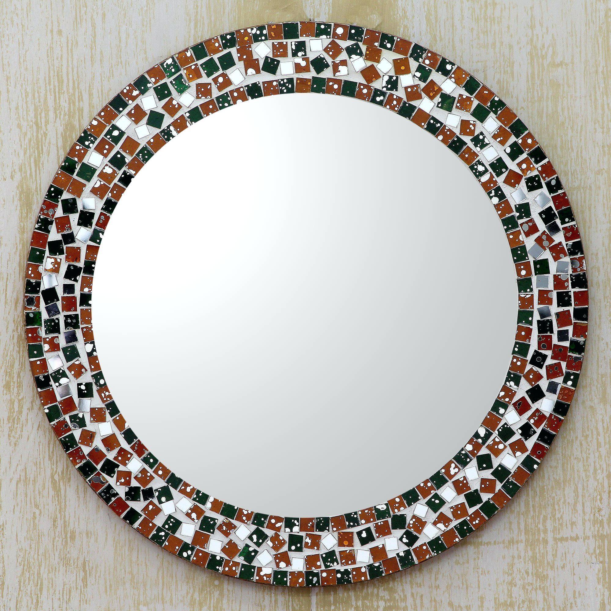 Round Mosaic Mirror Blue Glass Design Bathroom Hall Mirrorround Within Round Mirror For Sale (View 10 of 20)