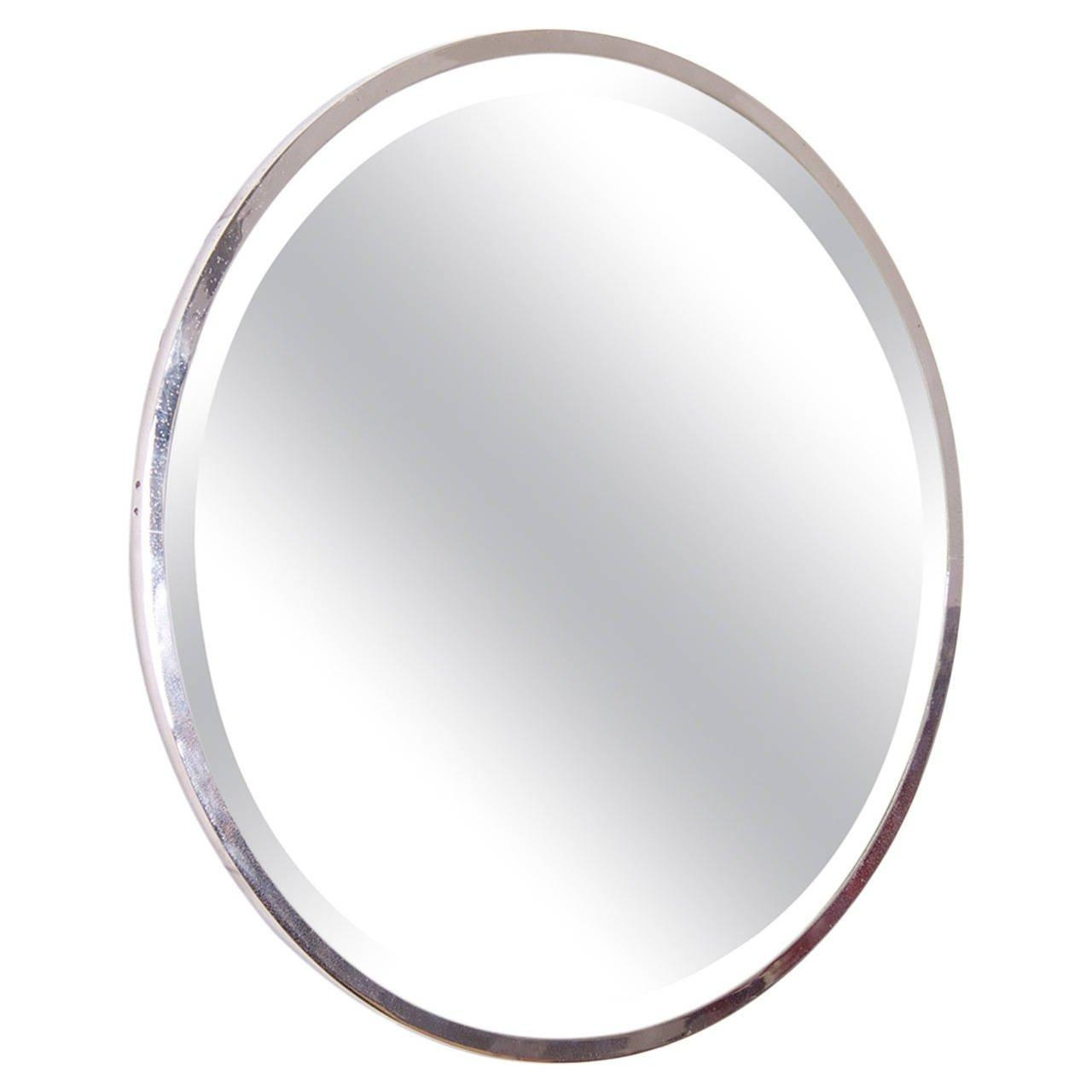 Round Nickel Plated French Art Deco Wall Mirror For Sale At 1Stdibs Within Art Deco Wall Mirrors (View 4 of 20)