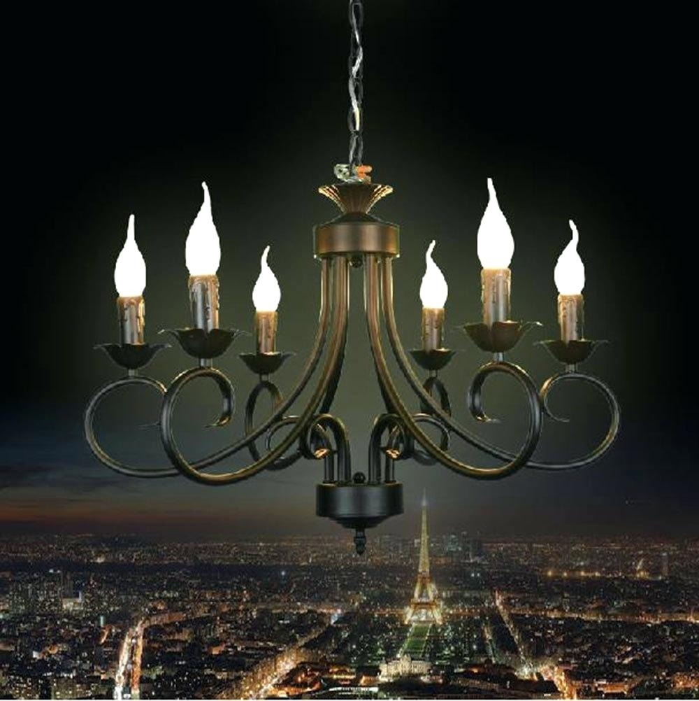 Round Pillar Candle Chandelier Large Wrought Iron Chandelier With Regard To Led Candle Chandeliers (Image 24 of 25)