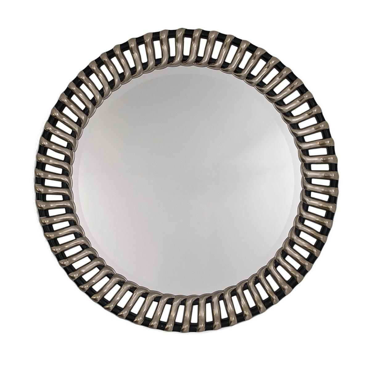 Round Ribbed Framed Silver And Black Bevelled Wall Mirror With Regard To Round Bevelled Mirror (Image 15 of 20)