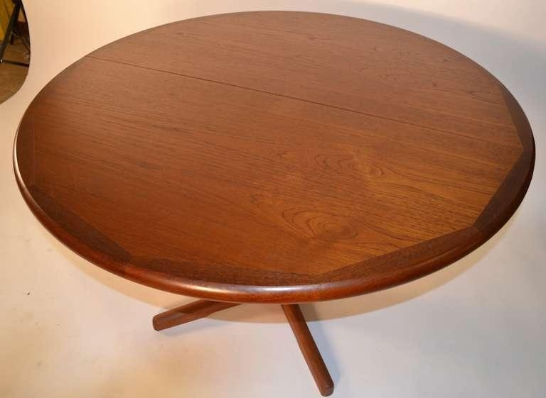 Round Teak Danish Modern Dining Table With Two Leaves At 1Stdibs Pertaining To Round Teak Dining Tables (Image 9 of 20)