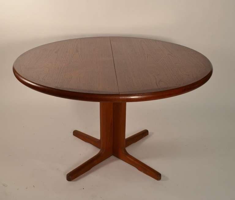 Round Teak Danish Modern Dining Table With Two Leaves At 1Stdibs Throughout Round Teak Dining Tables (Image 10 of 20)