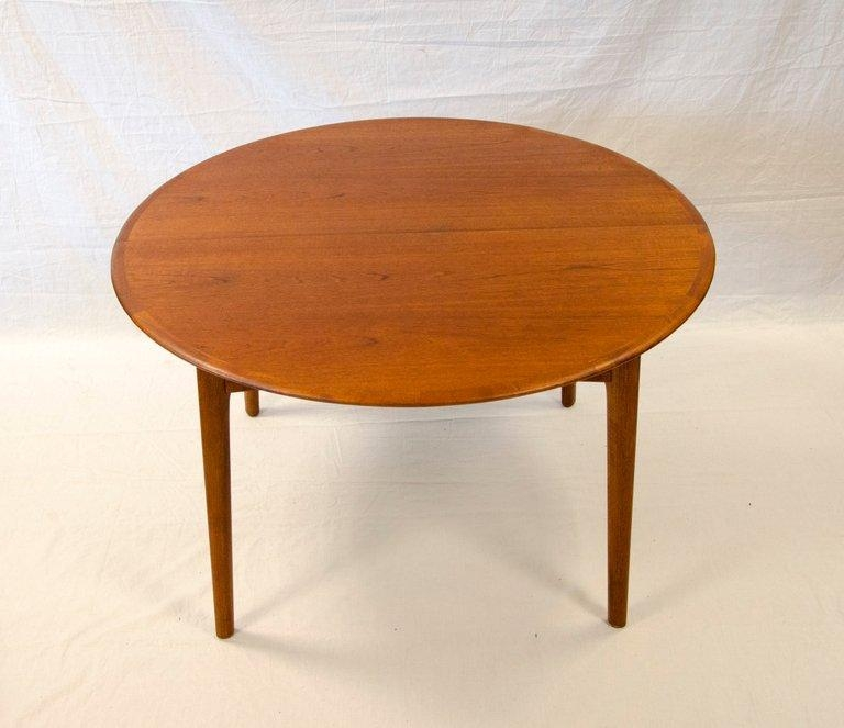 Round Teak Dining Table Danish – Two Leaves At 1Stdibs Throughout Round Teak Dining Tables (Image 12 of 20)