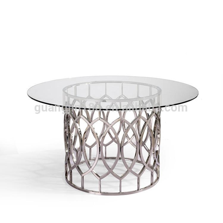 Round Tempered Glass Dining Table Stainless Steel Dining Table Pertaining To Glass And Stainless Steel Dining Tables (View 11 of 20)