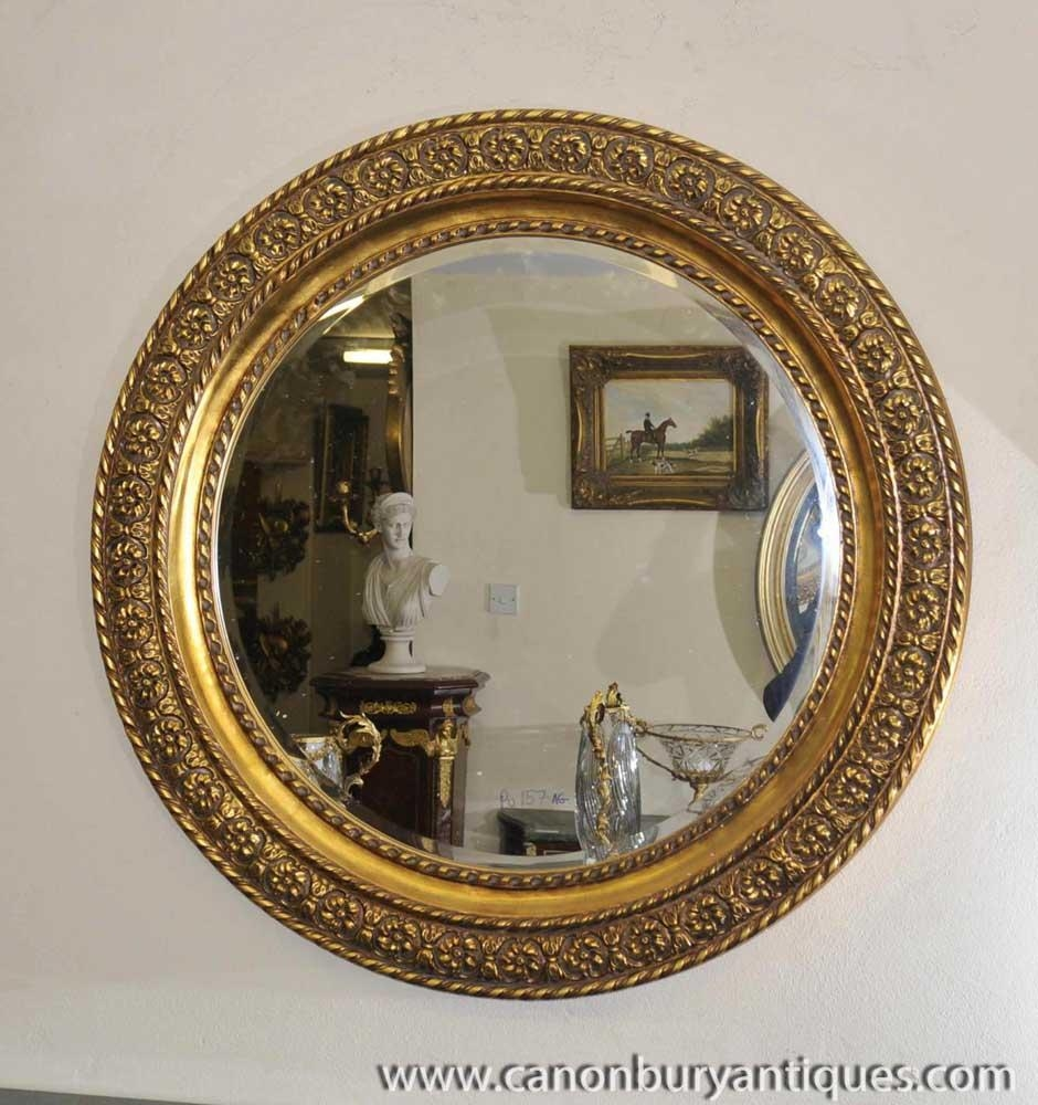Round Victorian Gilt Mirror Carved Frame Glass Mirrors In Round Gilt Mirror (Image 16 of 20)