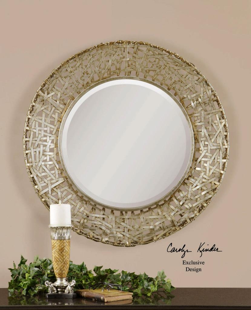 Round Wall Mirrors. White Beaded Edge Oval Mirror (Image 19 of 20)