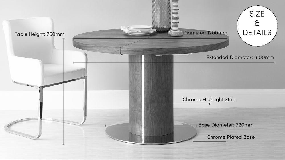 Round Walnut Extending Dining Table | Pedestal Base | Uk For Round Extendable Dining Tables (View 13 of 20)