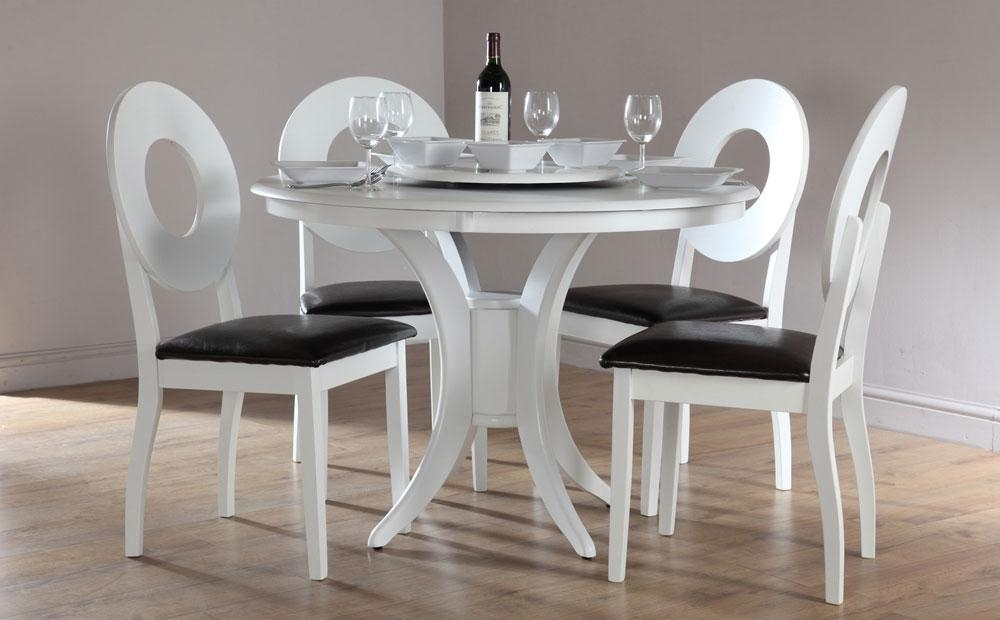 Round White Dining Table Set For 4 With Decoration | Eva Furniture Pertaining To Round White Dining Tables (View 7 of 20)