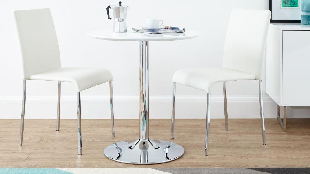 Round White Gloss 2 Seater Dining Table | Pedestal Base | Uk Within Two Seat Dining Tables (Image 17 of 20)