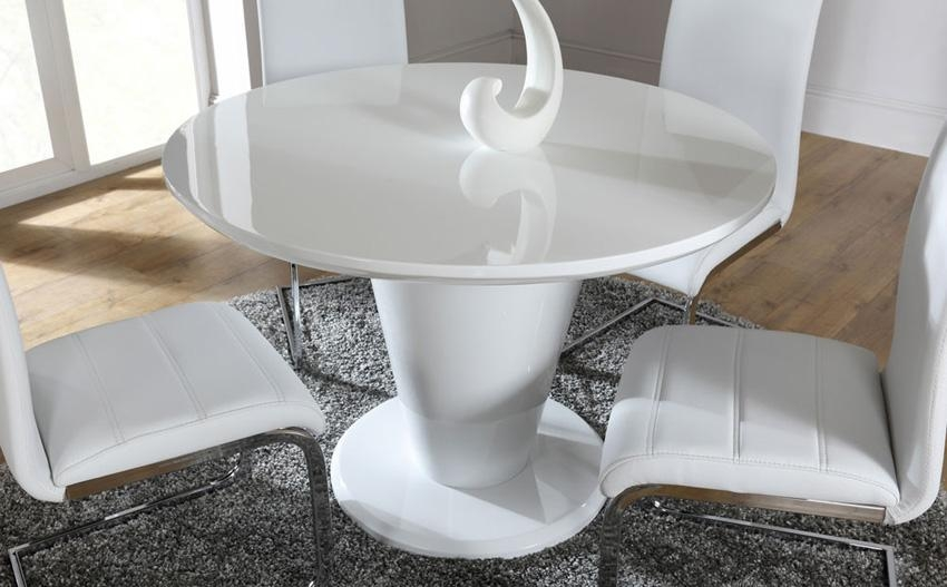 Round White High Gloss Dining Table – Living Room Decoration For White Circle Dining Tables (Image 15 of 20)