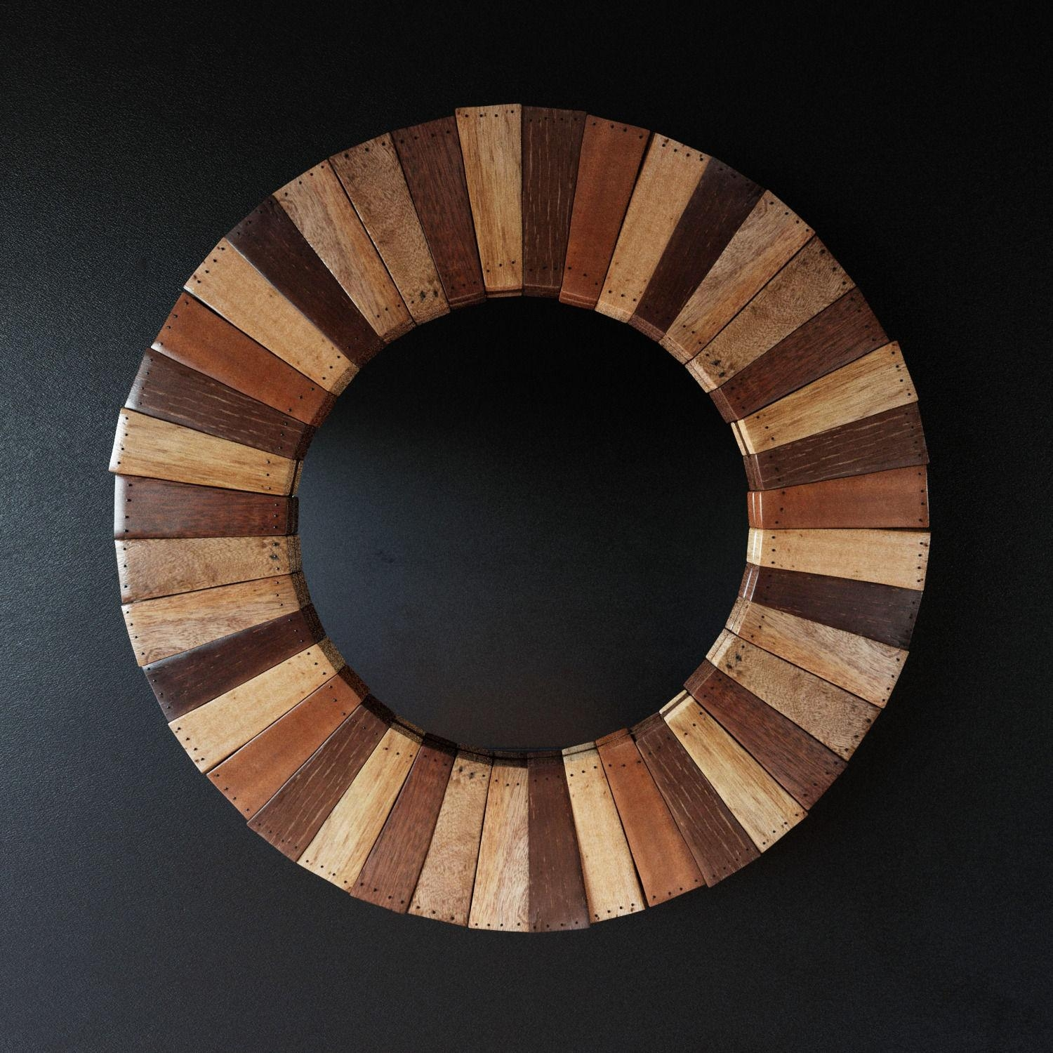 Round Wooden Mirror 3D Model Max Obj Fbx Mtl With Wooden Mirror (Image 5 of 20)