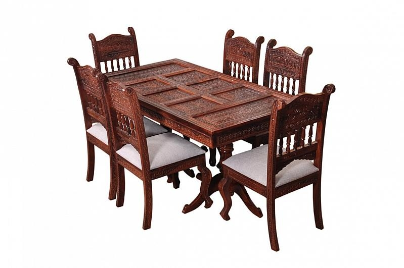 Royal Dining Table | Buy Online Dining Table Set | Induscraft In Sheesham Wood Dining Tables (Image 10 of 20)