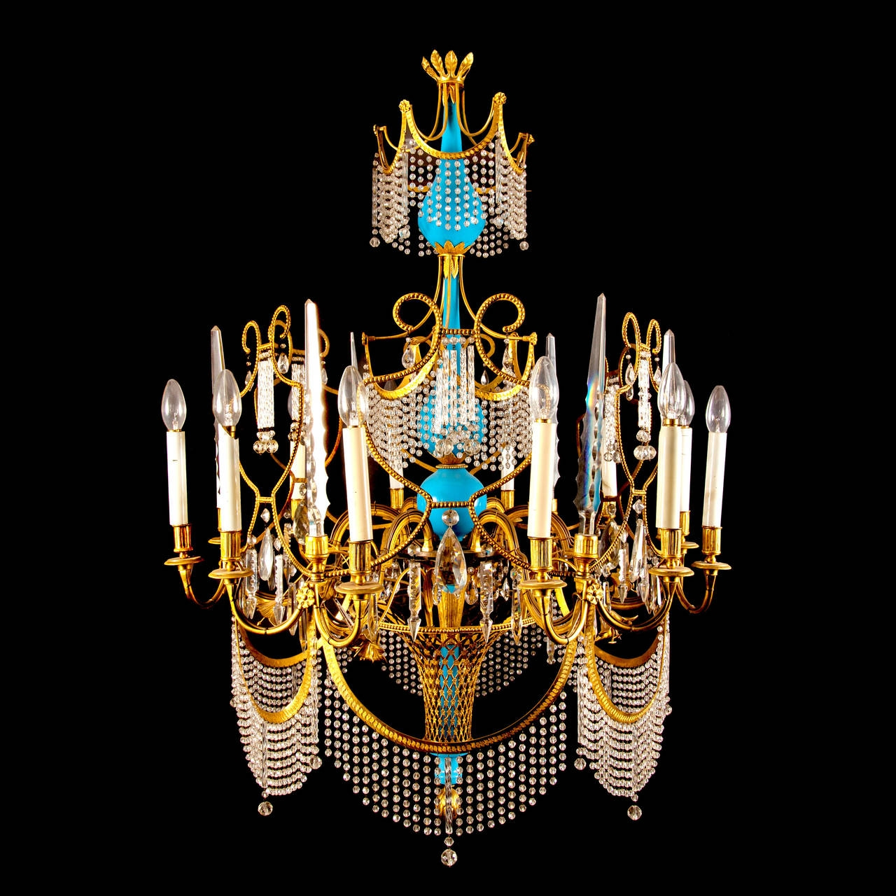 Russian Ormolu Cut Glass And Blue Porcelain Empire Style Antique Intended For Turquoise Empire Chandeliers (Image 23 of 25)