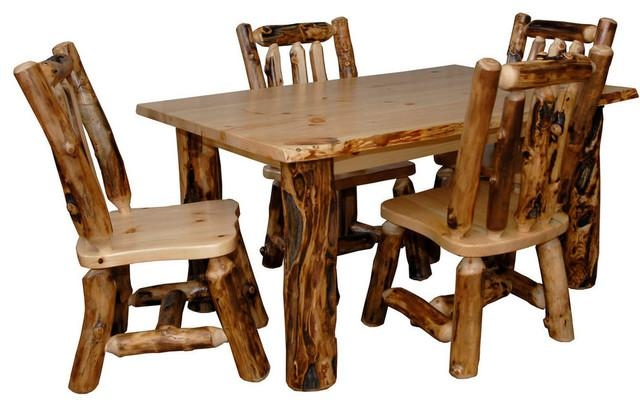 Rustic Aspen Log Kitchen Table Set Table & 4 Dining Chairs With Aspen Dining Tables (Image 19 of 20)