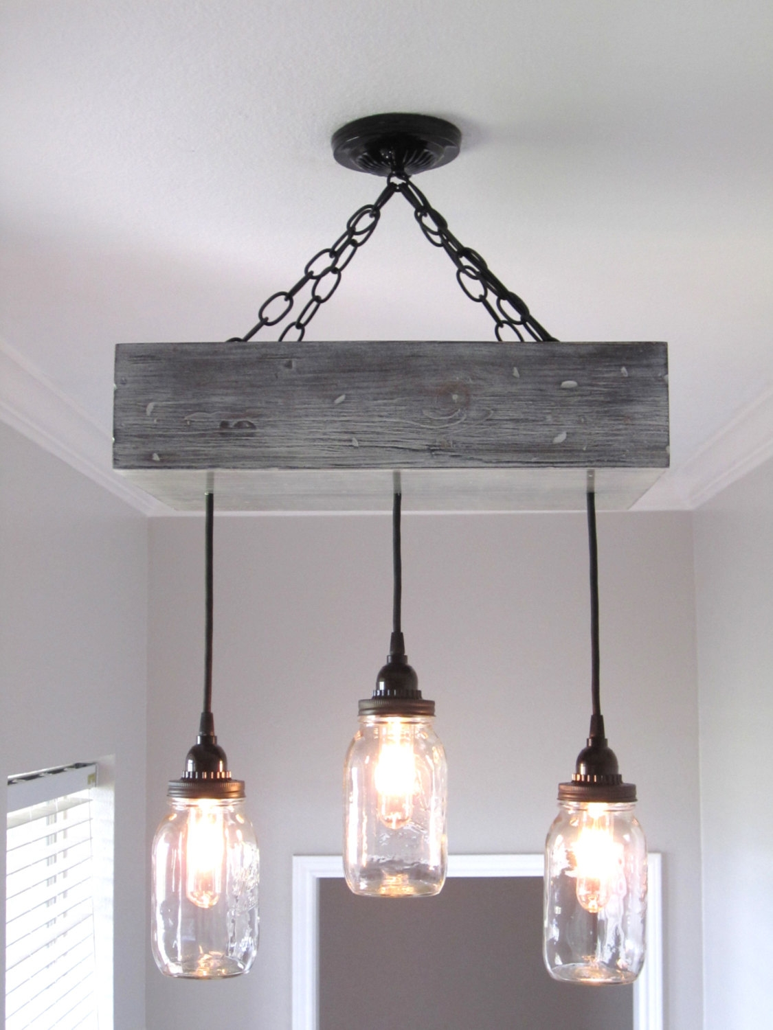 Rustic Mason Jar Chandelier Lighting Von Outofthewdworkdesign For Small Rustic Chandeliers (Photo 9 of 25)