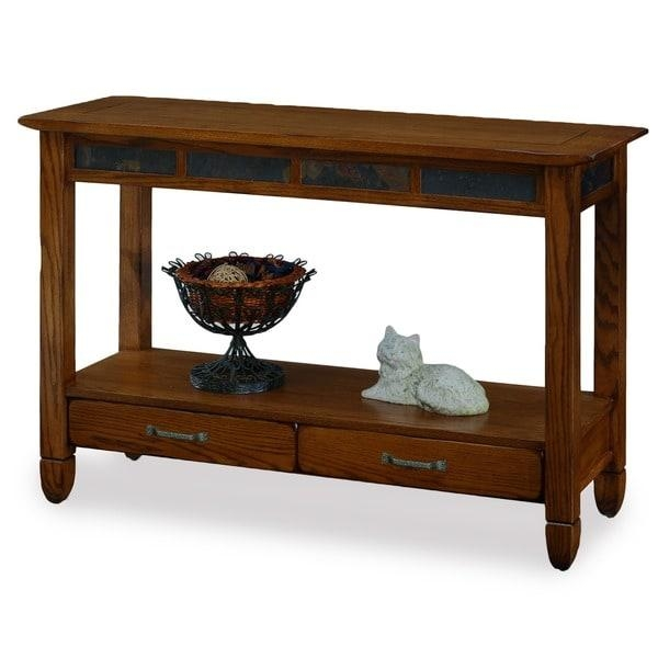 Rustic Oak And Slate Tile Sofa Table – Free Shipping Today With Regard To Slate Sofa Tables (Image 10 of 20)