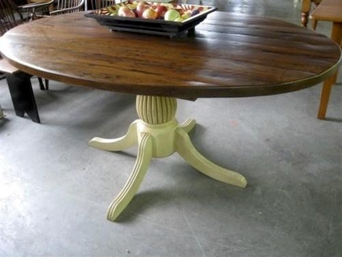 Rustic Oval Kitchen Table With Fluted Pedestal For Oval Reclaimed Wood Dining Tables (View 11 of 20)
