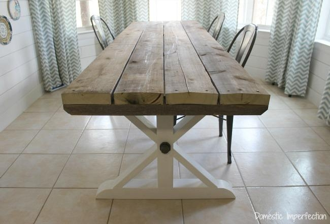 Rustic Picnic Style Dining Table – Domestic Imperfection Intended For Indoor Picnic Style Dining Tables (View 10 of 20)
