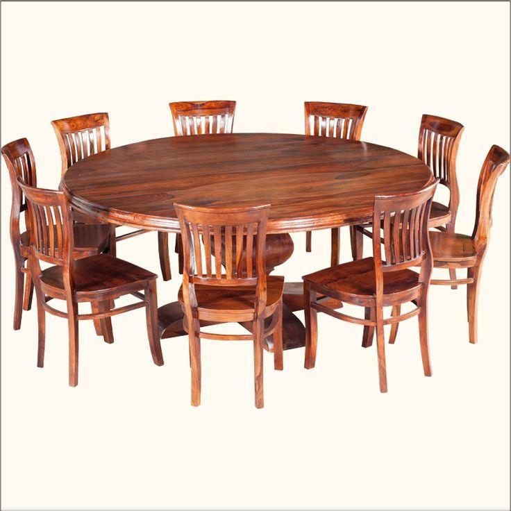 Rustic Solid Wood Large Round Dining Table & Chair Set | Large Intended For 8 Seater Round Dining Table And Chairs (Image 20 of 20)