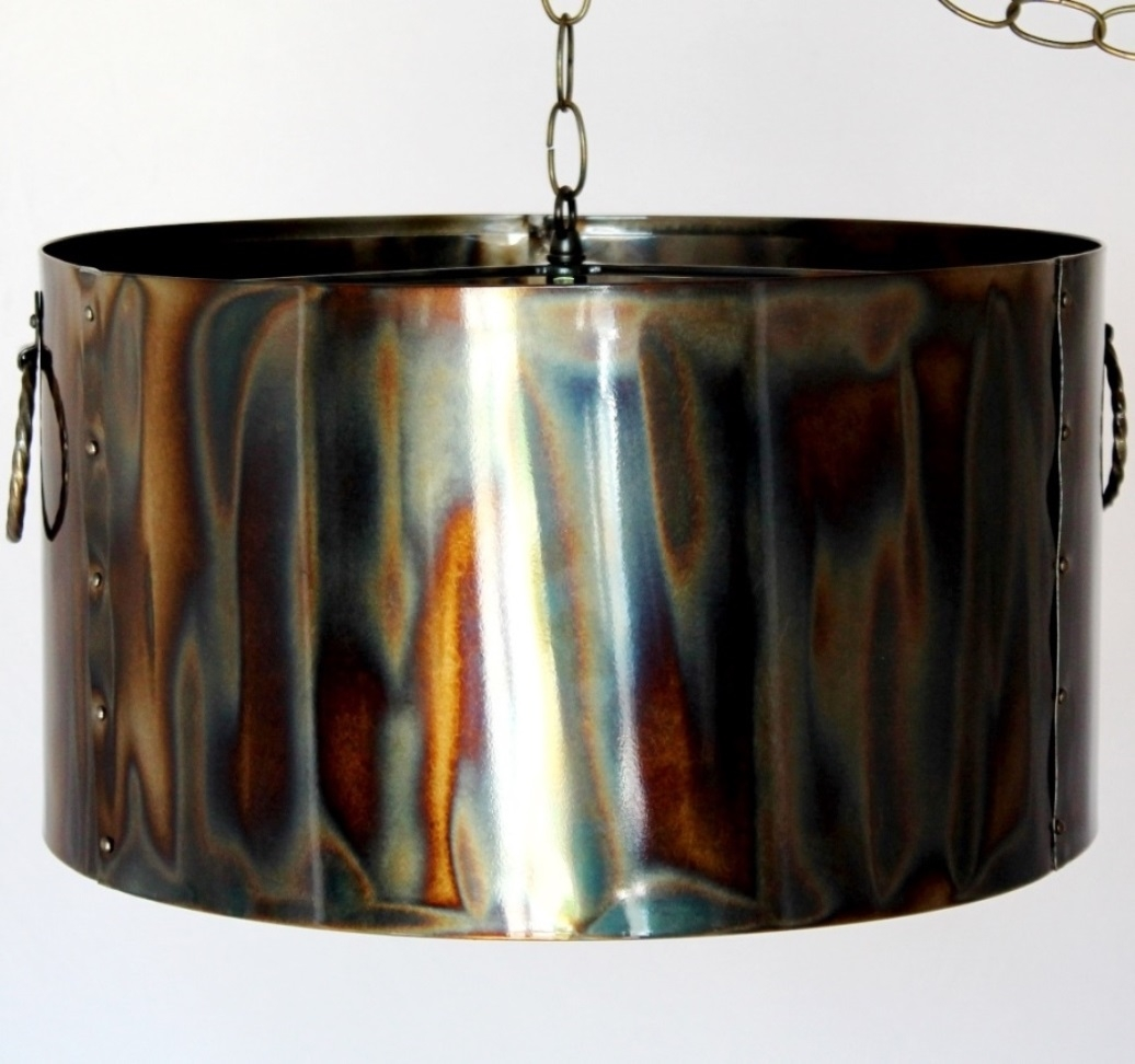 Rustic Torched Metal Drum Pendant Light Lamp Shade Pro With Regard To Metal Drum Chandeliers (Image 23 of 25)