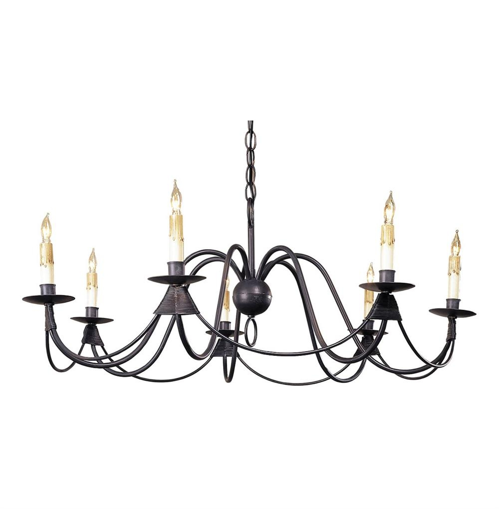 Ruther Nouveau Black Iron Low Profile 7 Light Chandelier Kathy With 7 Light Chandeliers (Image 18 of 25)