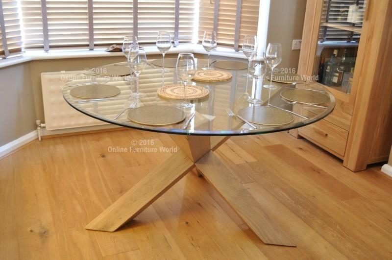Sale On Rio Large Round Glass Dining Table With Oak Legs | Online In Glass Dining Tables With Oak Legs (Image 17 of 20)