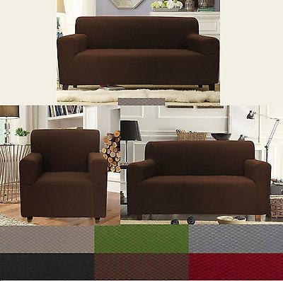 Sally Form Fit 4 Way Stretch Furniture Sofa Loveseat Chair 3 Piece Pertaining To 3 Piece Slipcover Sets (Image 16 of 20)