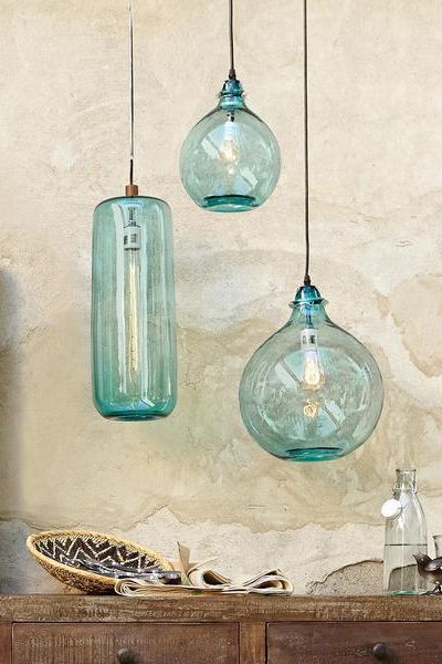 Salon Bleu Glass Demijohn Pendant Lighting Love Pinterest For Turquoise Glass Chandelier Lighting (Image 24 of 25)