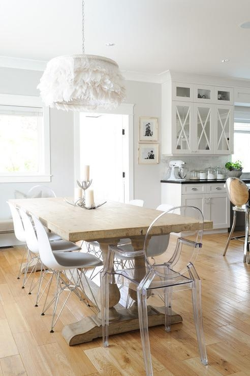 Salvaged Wood Dining Table With Clear Acrylic Molded Dining Chairs For Clear Plastic Dining Tables (Image 19 of 20)