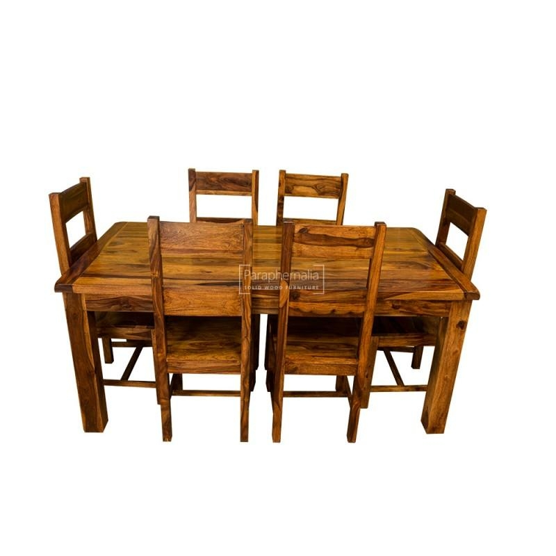 Samri Sheesham Dining Table & Six Chairs – Solid Sheesham Wood Within Sheesham Wood Dining Tables (Image 12 of 20)