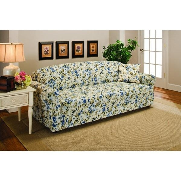 Sanctuary Stretch Jersey Floral Sofa Slipcover – Free Shipping On Within Floral Sofa Slipcovers (View 19 of 20)