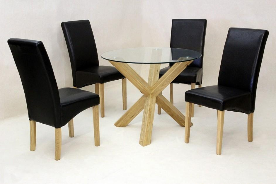Saturn Small Solid Oak Dining Table Glass Only 950Mm Round With Glass Dining Tables With Oak Legs (Image 18 of 20)