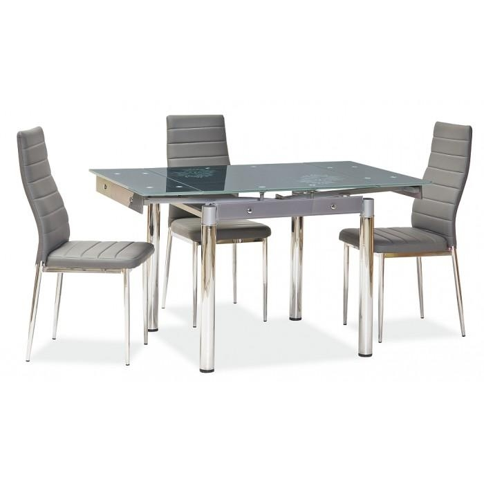 "Savannah"" Grey Glass Extendable Dining Table & 4 Chairs Intended For Extendable Dining Table And 4 Chairs (Image 18 of 20)"