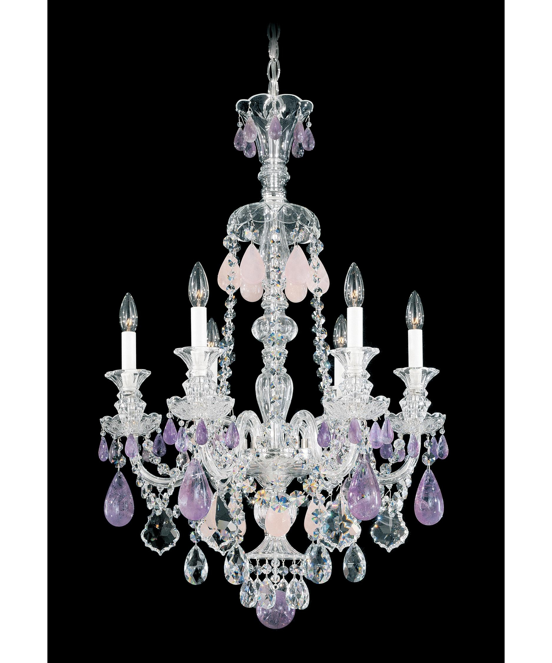 Schonbek 5505 Hamilton Rock Crystal 22 Inch Wide 6 Light Throughout Purple Crystal Chandelier Lights (Image 21 of 25)