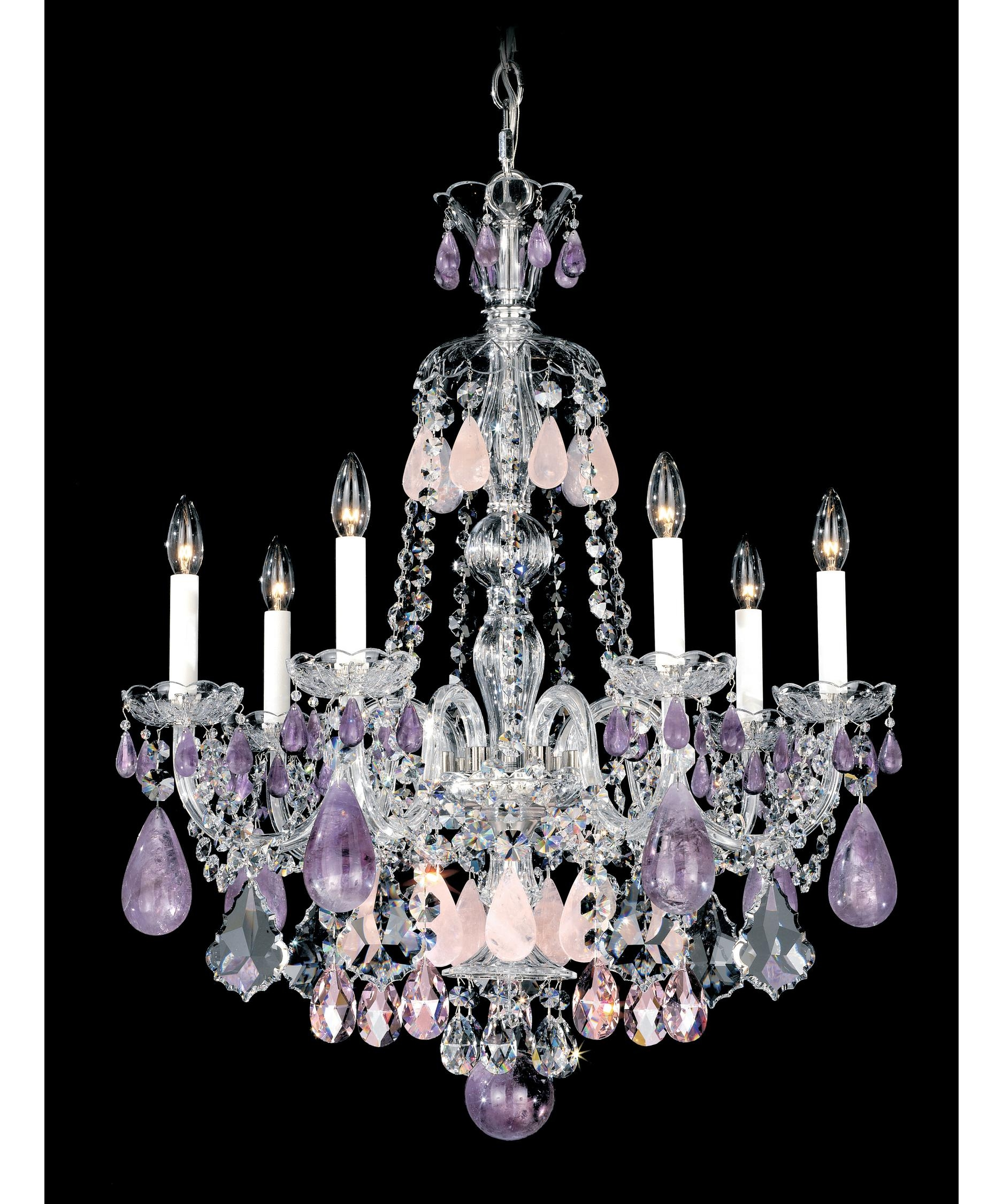 Schonbek 5536 Hamilton Rock Crystal 24 Inch Wide 7 Light Regarding Purple Crystal Chandelier Lights (Image 22 of 25)