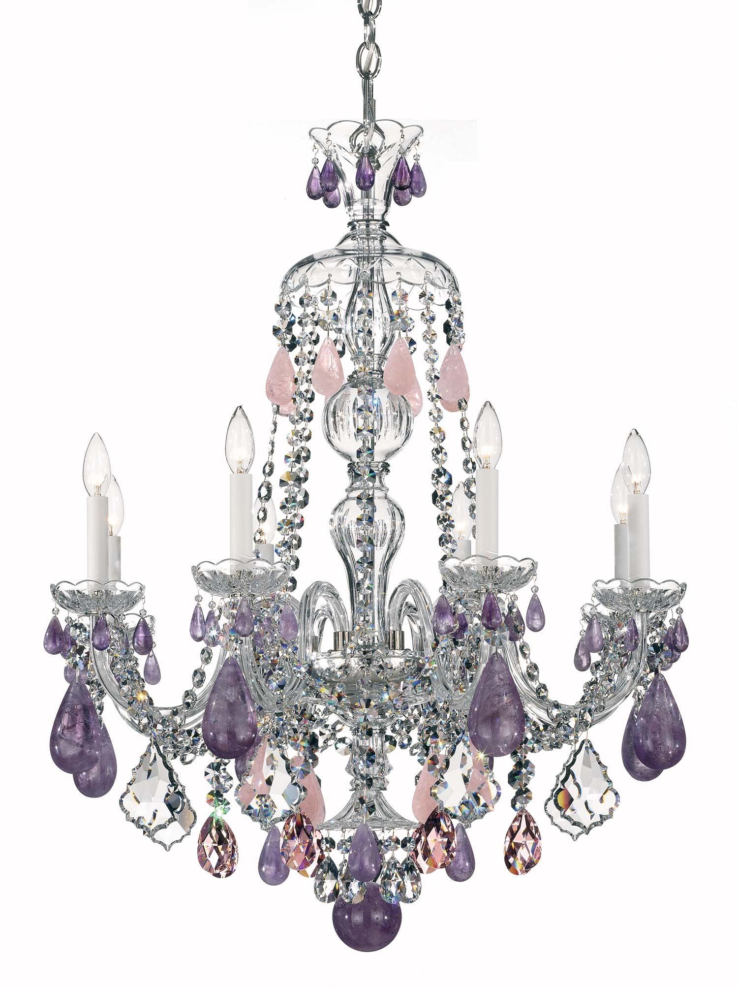 Schonbek 5537 Hamilton Rock Crystal Collection Chandelier Crystal Throughout Purple Crystal Chandelier Lighting (Image 24 of 25)