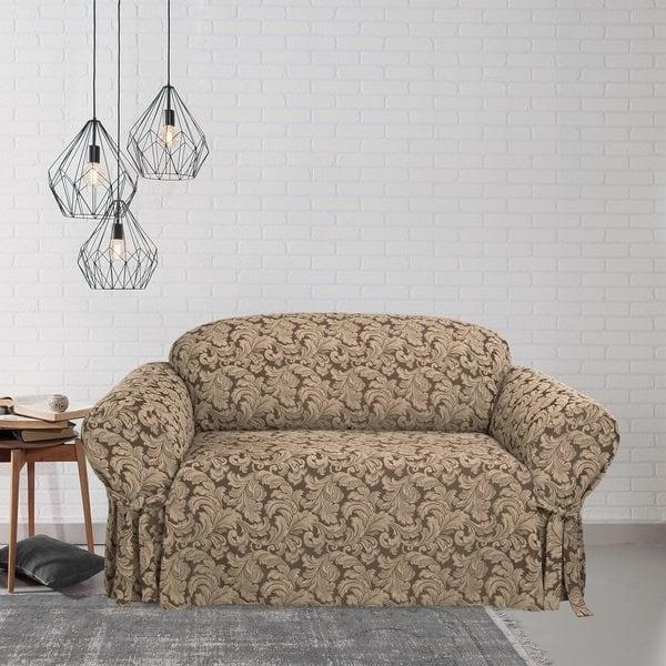 Scroll T Cushion Loveseat Slipcover – Free Shipping Today Inside Loveseat Slipcovers T Cushion (Image 5 of 20)