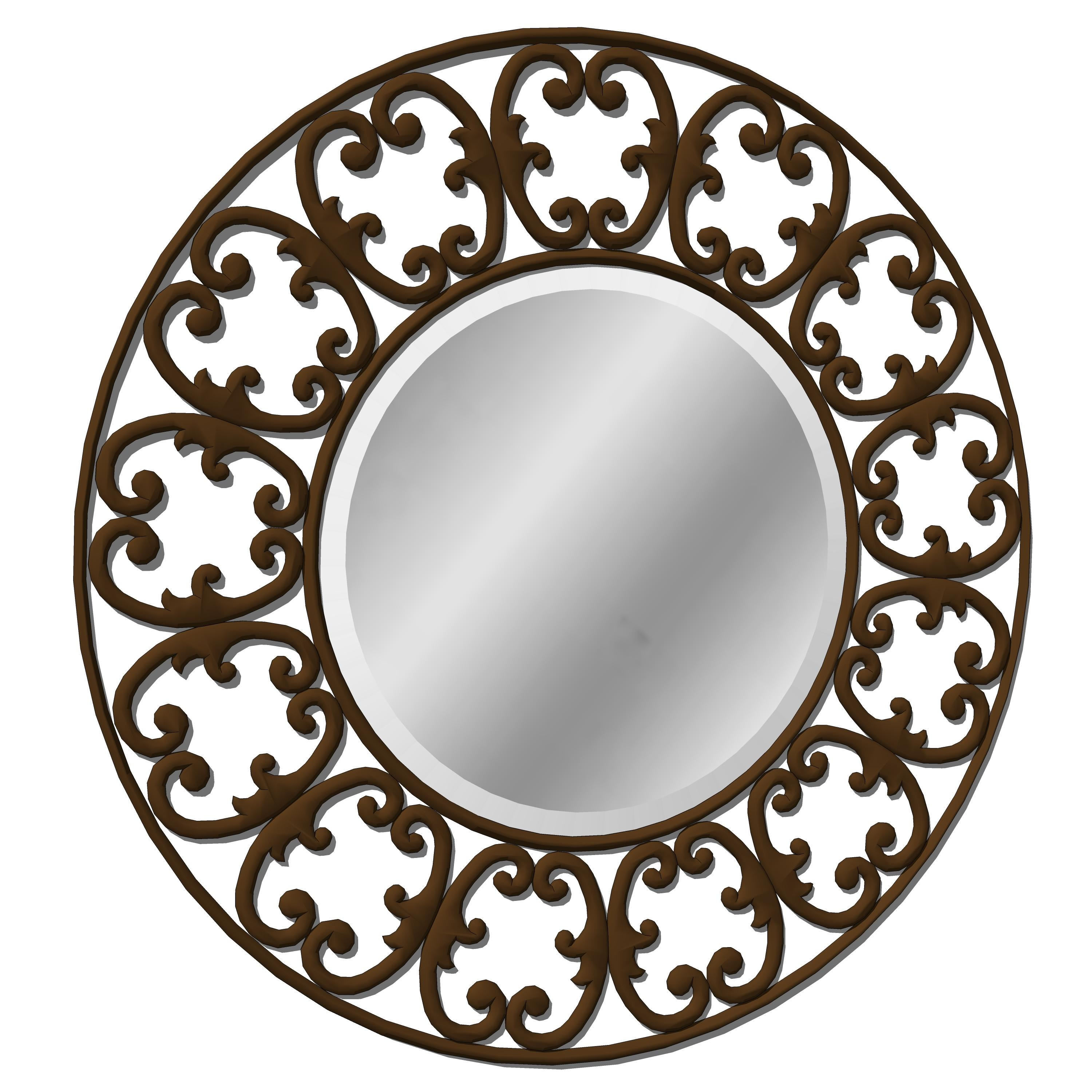 Scrolled Mirror 3D Model – Formfonts 3D Models & Textures Within Rod Iron Mirrors (Image 16 of 20)