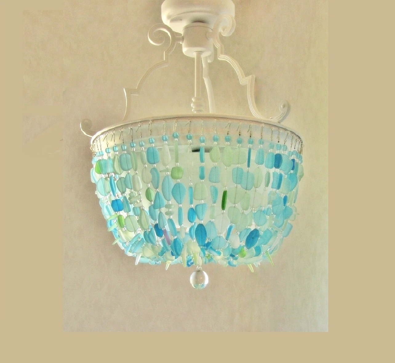 Sea Glass Chandelier Lighting Fixture Beach Glass Ceiling In Turquoise Chandelier Lights (View 23 of 25)
