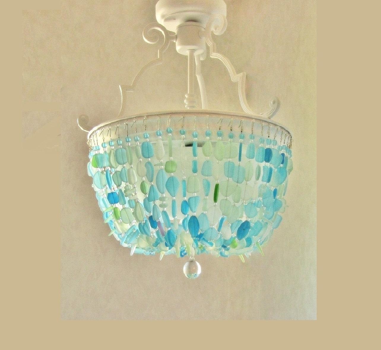 Sea Glass Chandelier Lighting Fixture Beach Glass Ceiling In Turquoise Chandelier Lights (Image 23 of 25)