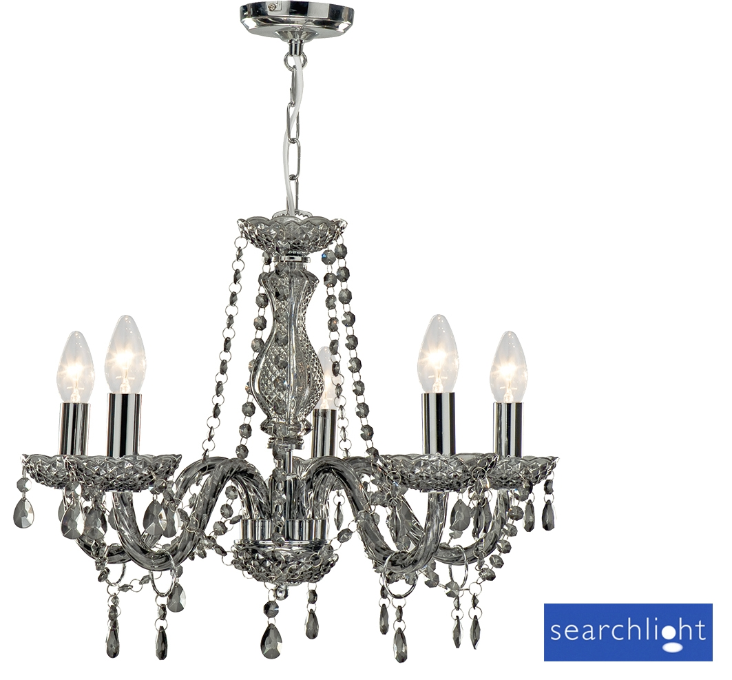 Searchlight Marie Therese 5 Light Chandelier Smoked Grey 8695 With Regard To Grey Chandeliers (Image 25 of 25)