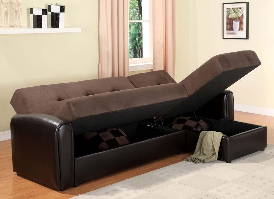 Sectional Sleeper Sofa With Storage – Video And Photos Throughout Microsuede Sleeper Sofas (Image 18 of 20)