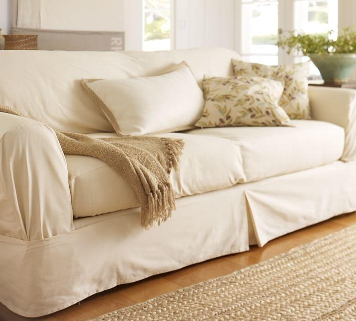 Separate Seat Square Cushion Loose Fit Slipcover – Twill | Pottery Throughout Canvas Sofas Covers (Image 14 of 20)