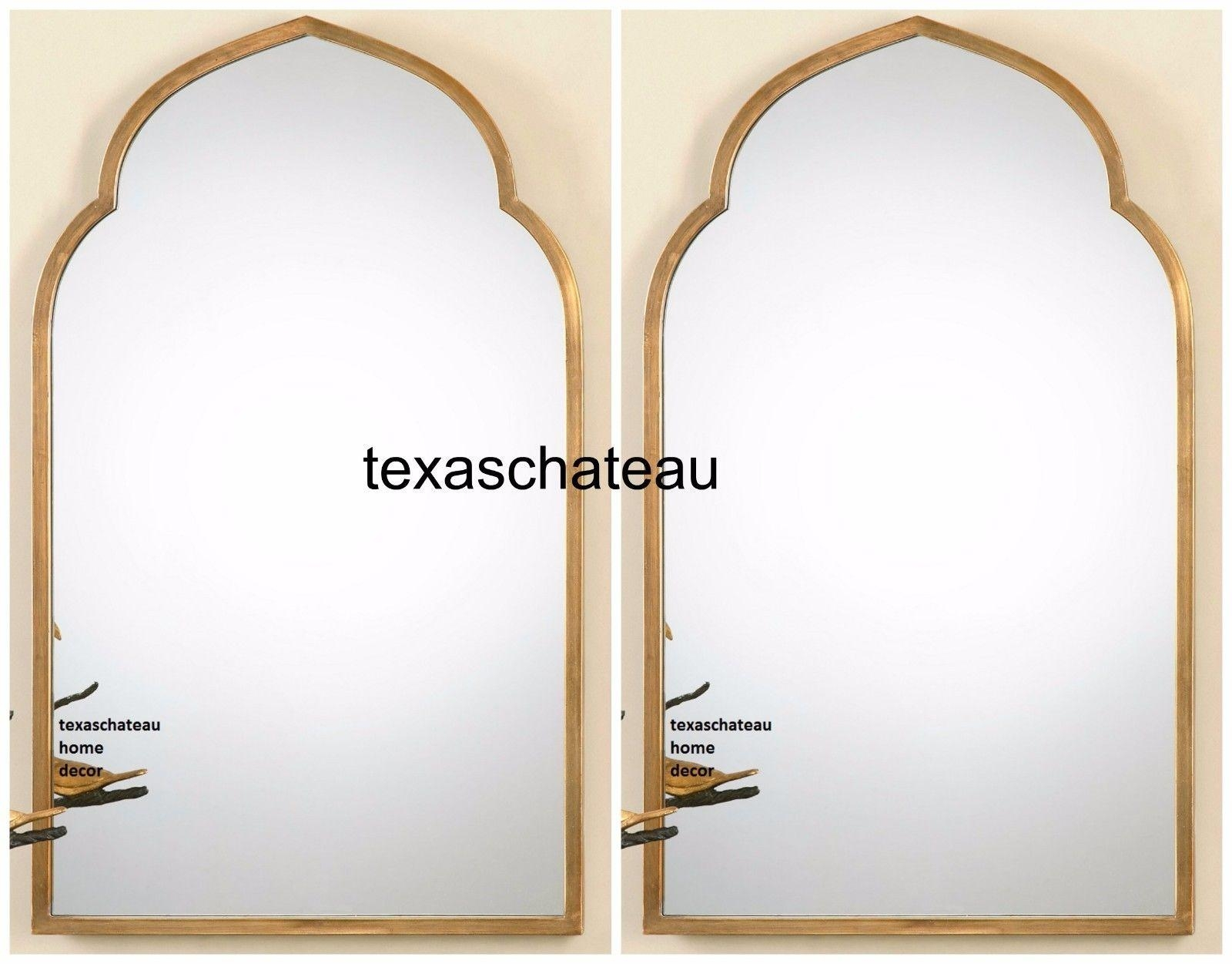 Set 2 Modern Gold Arched Moroccan Wall Mirror Foyer Bathroom Arch In Gold Arch Mirror (Image 15 of 20)