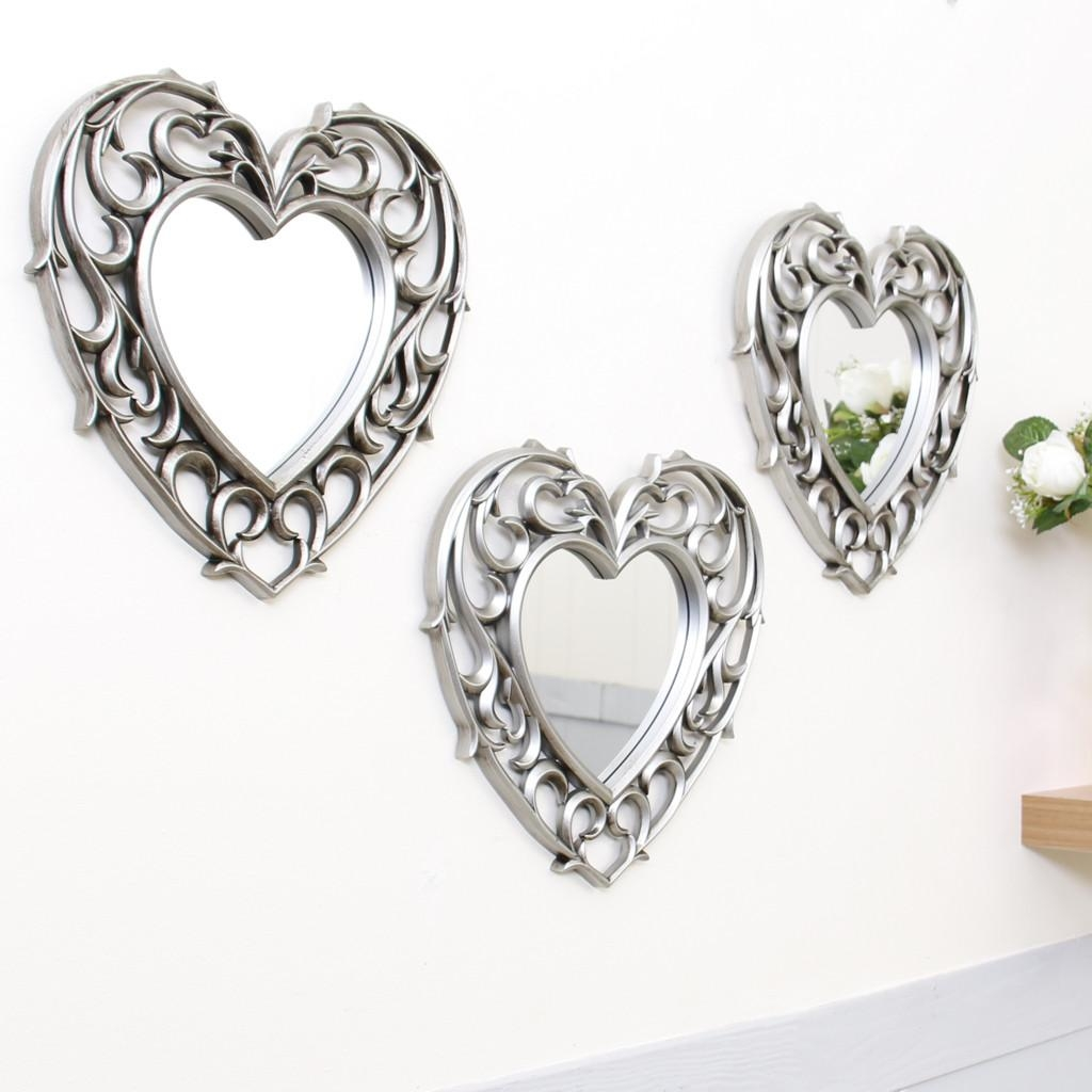 Set Of 3 Silver Heart Shaped Mirrors With Regard To Heart Shaped Mirrors For Walls (Image 17 of 20)