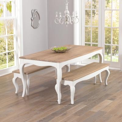 Seville Ivory Painted Distressed Dining Table With 2 Benches With Ivory Painted Dining Tables (Image 19 of 20)