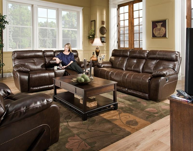Seville Java Leather 2 Piece Reclining Sofa, Reclining Console Within Reclining Sofas And Loveseats Sets (Image 19 of 20)