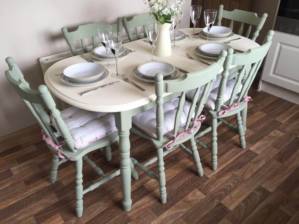 Shabby Chic Dining Table And 6 Chairs Vintage Farm House Chalk In Shabby Chic Cream Dining Tables And Chairs (Image 18 of 20)