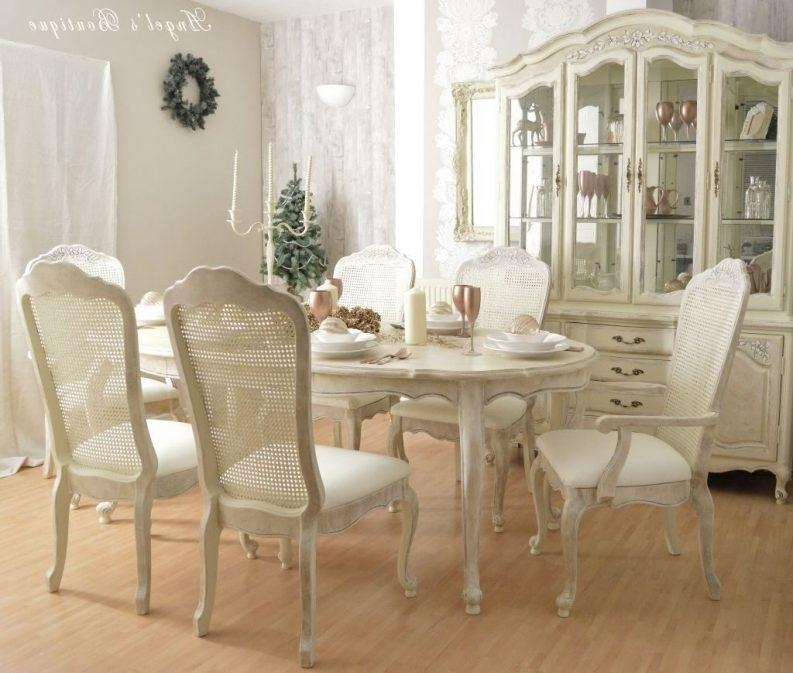 Shabby Chic Dining Table Ideas Round Glass Finish Dining Table Regarding Ivory Painted Dining Tables (View 20 of 20)