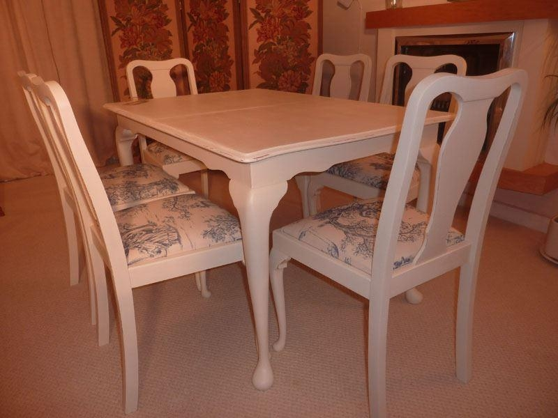 Shabby Chic Extendable Dining Table With 6 Chairs Painted Vintage With Shabby Chic Extendable Dining Tables (Image 14 of 20)